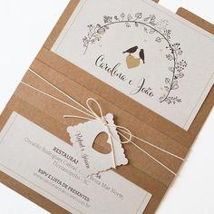 Convite Passarinhos, convite rústico, convite de casamento, convite kraft