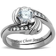 SPECIAL DEAL - Stainless Steel 0.75 Carat Cubic Zirconia Engagement and Wedding Ring Set