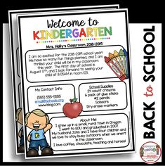 FREE Welcome to kindergarten newsletter - meet the teacher and open house FREEBIE - send this editable newsletter home so parents can get to know you teacher Kindergarten Report Cards, Welcome To Kindergarten, Kindergarten Newsletter, Kindergarten Freebies, Kindergarten Classroom, Kindergarten Readiness, Beginning Of The School Year, First Day Of School, Back To School Newsletter