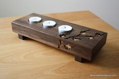 Mokajade is where design and function merge and become beautiful wooden pieces, from wearable pendants to magnet boards. Scrap Wood Projects, Projects To Try, Tea Light Candles, Tea Lights, Wood Scraps, Candle Magic, Wood Creations, Tealight Candle Holders, Cherry Blossom