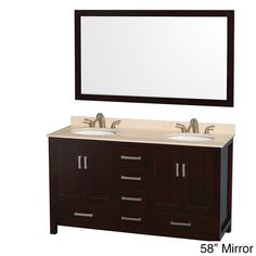 Wyndham Collection Sheffield Espresso 60-inch Double Vanity (Espresso 60'', ivory top, 58 mir.), Brown, Size Double Vanities