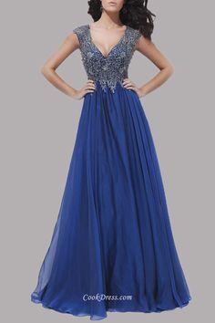 Luxury Beaded Sleeveless V-neck Royal Blue Keyhole Long Ball Dress