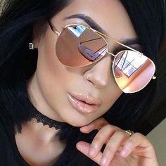 Mirrored Aviator Sunglasses, Black Sunglasses, Sunglasses Women, Rose Gold Mirrored Sunglasses, Mirrored Aviators, Rose Gold Aviators, Check, Car, Sewing