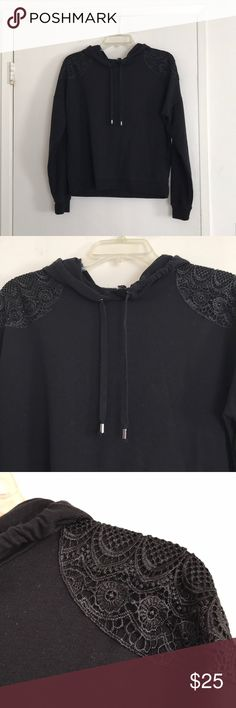 Lacey black hoodie by Material Girl Active XL Lacey black hoodie by Material Girl Active XL Material Girl Active Sweaters