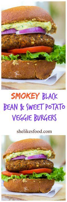 Smokey Sweet Potato, Black Bean & Brown Rice Veggie Burgers with Curry Cilantro Mayo {gf+v} - She Likes Food