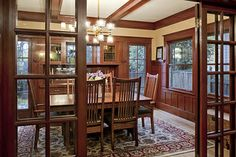 Craftsman dining room with wainscoting/paneling and built-in china cabinet -- house remodeled by Craftsman Design & Renovation Craftsman Dining Room, Craftsman Interior, Modern Craftsman, Craftsman Style Homes, Craftsman Bungalows, Craftsman House Plans, Craftsman Ranch, Craftsman Farmhouse, Craftsman Bathroom