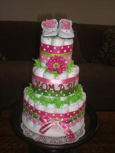 Rosa y verde niña pañal Cake bebé centros de mesa regalos de