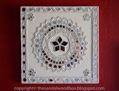 The Sandalwood Box: Lippan Kaam (Mud Mirror Work) Mirror Painting, Mural Painting, Mural Art, Murals, Clay Wall Art, Clay Art, Rajasthani Art, Mirror Crafts, Madhubani Painting