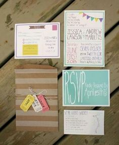 My Colourful DIY Invitation Suite! :  wedding diy invitations ivory pink purple teal white yellow Invites by nina