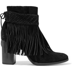 Schutz - Fringed Suede Ankle Boots ($140) ❤ liked on Polyvore featuring shoes, boots, ankle booties, black, black fringe booties, black booties, black suede booties, fringe booties and suede ankle boots