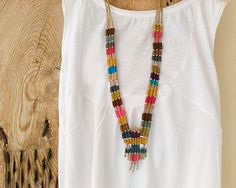 Long woven ethnic necklace and cuff bracelet by myTotalHandMade