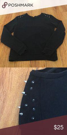 Zara Sweater Black Shoulder Studded Sweater Zara Sweaters Crewneck