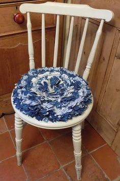 Circular Rag Rug Chair Pad Cushion In Blue And Cream