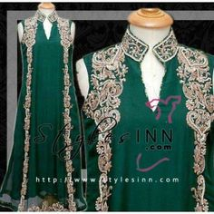 Mint Green Chiffon Embroidred Outfit with Sherwani Neck - StylesInn (Pakistani Designers Wear)