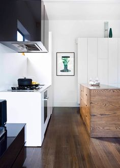 Good planning and great storage allow this busy kitchen, dining and living space to maintain a cool facade Kitchen Dining, Facade, Living Spaces, Cool Designs, Cool Stuff, Storage, Monochrome, Kitchens, House