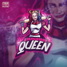 Strawberry Queen Mascot inspire by Harley Quinn from DC GRVSTeam Logo Esport, Art Logo, Desi Girl Image, Cartoon Logo, Joker Cartoon, Joker Images, Harley Quinn Comic, Youtube Logo, Game Logo Design