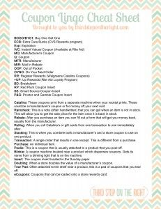 FREE Printable couponing lingo cheat sheet. Great for those just starting out that need to decode some of the terms in the coupon groups and forums.
