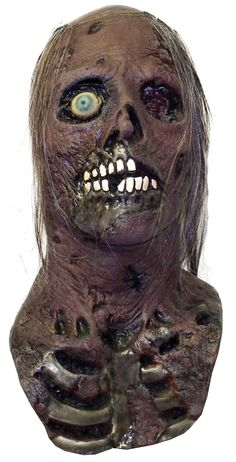 Full over the head latex mask, individually hand painted and sculpted.