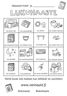 Lukuhaaste Primary Education, Special Education, Learn Finnish, Finnish Language, Kids Schedule, Printable Crafts, Early Literacy, Drawing For Kids, Reading Comprehension