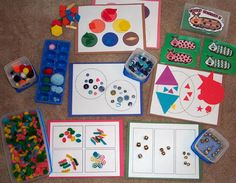 Sort and Classify Tub Contents to have students sort objects by color, size, shape, size and other properties. The mats shown in the picture would make a great aide to classifying the objects.