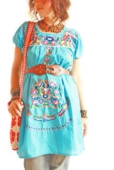 Handmade Mexican embroidered dresses and vintage treasures from Aida Coronado Blue Mexican embroidered dress A heart in every piece