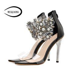 WEIQIAONA 2018 New Women Shoes Summer Quliaty PU Sandals Designer Luxury Rhinestones  Ladies shoes Sexy Peep 500c3771dcb7