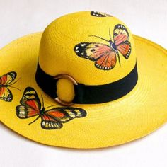 Hand Painted Genuine Panama Hat – Travel To Blank Couple Travel Destinations + Travel Tips – Join in the world of pin Fancy Hats, Cool Hats, Painted Hats, Hand Painted, Hat Decoration, Hat Crafts, Mellow Yellow, Sun Hats, Flower Costume