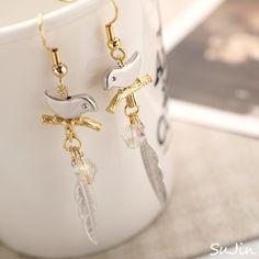 Bird Branch & Feather Earwire Earrings by SuJinBiJoux on Etsy