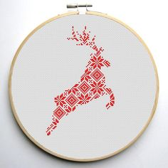 (10) Name: 'Embroidery : Nordic Reindeer Cross Stitch Pattern
