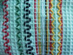 SYDÄMESTÄ SORMENPÄIHIN: Vohvelikangas heppa! Textile Fabrics, Friendship Bracelets, Swedish Weaving Patterns, Embroidery, Crafts, Tela, Straight Stitch, Needlepoint, Manualidades