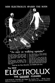 This black and white image is taken from a 1920's advert for an Electrolux vacuum cleaner.