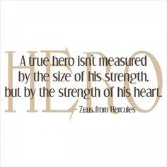'A True Hero' Quote - Vinyl Quote Decal
