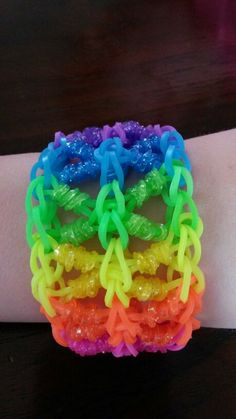 I LOVE MAKING BRACELETS OUT OF RUBBER BANDS. IT IS SO FUN. Plus it passes time.