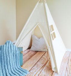 Natural Canvas Play Tent Teepee Playhouse by AshleyGabby on Etsy #MadeinUSA #pinparty #munire