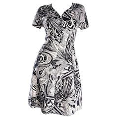Mr. Blackwell 1960s 60s Black and White Silk A - Line Abstract Vintage Dress  | From a collection of rare vintage day dresses at https://www.1stdibs.com/fashion/clothing/day-dresses/