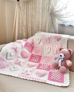 Popcorn baby blankets and making Bobble Stitch Crochet Blanket, Baby Afghan Crochet Patterns, Crochet Headband Pattern, Granny Square Crochet Pattern, Baby Blanket Crochet, Baby Patterns, Baby Sewing Projects, Manta Crochet, Baby Girl Crochet