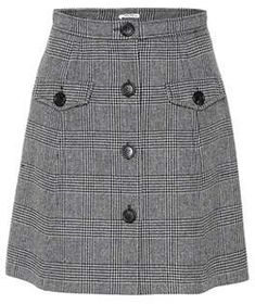 Miu Miu Checked wool-blend miniskirt How To Be A Leather Blouse Mix Leather top types Winter Skirt Outfit, Skirt Outfits, Dress Skirt, Cute Skirts, Mini Skirts, First Day Outfit, Laid Back Outfits, Linen Skirt, Mode Hijab