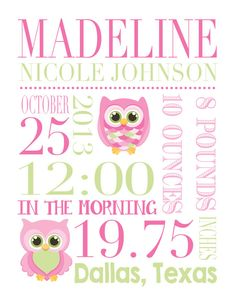 Custom star map poster unframed new baby gift first anniversary custom birth print pink green owl 8 x 10 digital print nursery print baby shower custom birth record negle Gallery