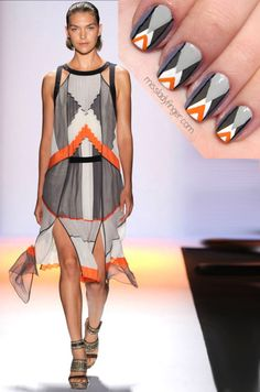 missladyfinger:    MANICURE MUSE: BCBG Max Azria SP'12  If you know me by now, you know I love me a good color-blocked dress. BCBG Max Azria showed no shortage of them, as they evolve for Spring. My favorite part: the subtle slits that add the bit of flirt to the sporty chic frocks. Featured here: Caitlin and Dove by Zoya, Power Clutch by Essie, and Orange Graph by Milani.  (Photo: Sight-Management.com)