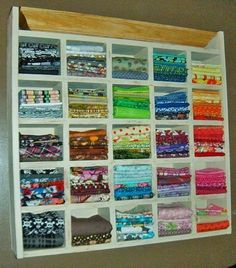 Put fabric in cubbies. Easy to find which one you need.