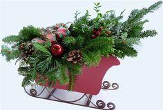 Fulbright Farm Wreaths - Santa's Sleigh, $63.95 (http://fulbrightfarmwreaths.com/centerpieces/santas-sleigh/)