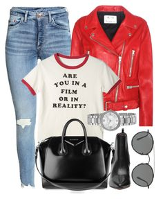 """""""Saturday"""" by monmondefou ❤ liked on Polyvore featuring Acne Studios, Givenchy, Ray-Ban, white and red"""