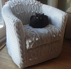 Knitting pattern for aran armchair cover - Erika Knight designed this cable chair cover for Ikea chairs, available as one of the 15 patterns in Simple Knits with a Twist. (eBay affiliate) More furniture knitting patterns at http://intheloopknitting.com/furniture-knitting-patterns/