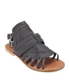 Black Tourist Leather Sandal by Matisse #zulily #zulilyfinds