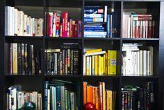 books- colour coasted book shelves.  A little OCD, but I love the look.
