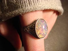 Victorian Style Fire Opal Antique Silver Ring- Adjustable (472). $16.00, via Etsy.