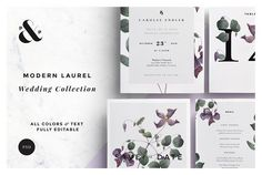 Modern Laurel Wedding invite stationary Collection by Paperie & Press on @creativemarket