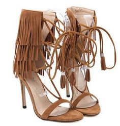 Black White Suede Ankle Tie Lace Up Fringe Sandals High Heels Tassel Gladiator Sandals Women Shoes Woman Summer Style Sandalias