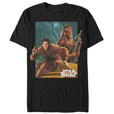 Fifth Sun Black Star Wars Chewie & Han Tee ($13) ❤ liked on Polyvore featuring tops and t-shirts