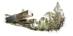 House in Curitiba - Biselli Katchborian Architects - Rendering by Estudio MI Architecture Board, Architecture Graphics, Architecture Visualization, Architecture Student, Architecture Drawings, Architecture Portfolio, Interior Architecture, Autocad, Layout